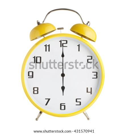 Analog alarm clock showing six o'clock isolated on white background - stock photo