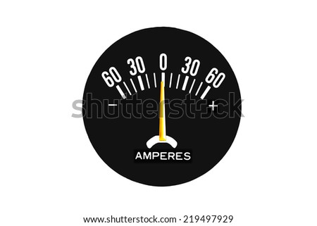 Analog amp meter, ammeter or ampere-meter measures DC direct current in units called amperes.  DC amp meters show a positive charge (+) plus sign and a negative discharge (-) minus sign. - stock photo