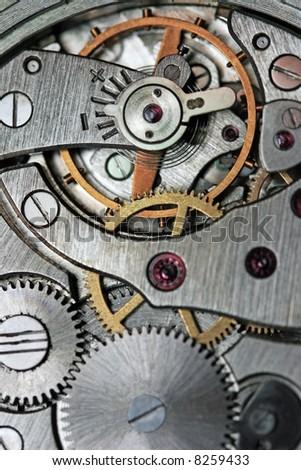 Analog clock mechanic - stock photo