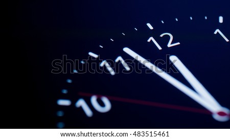 analog clock on telephone display. clock about to 12 midnight or midday, conceptual of New Year and countdown. close up.