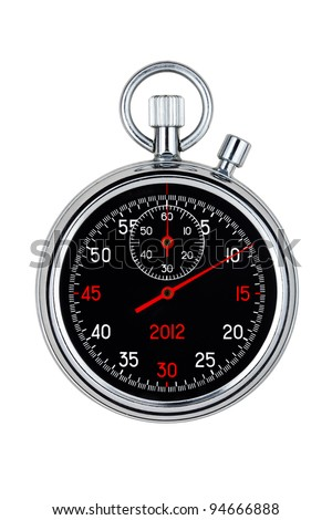 analog clock with black face on white background - stock photo