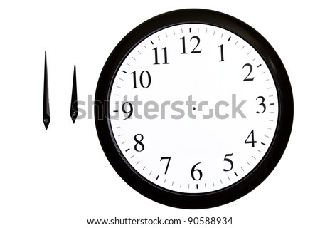 analog clock with separated arrows on a white background - stock photo