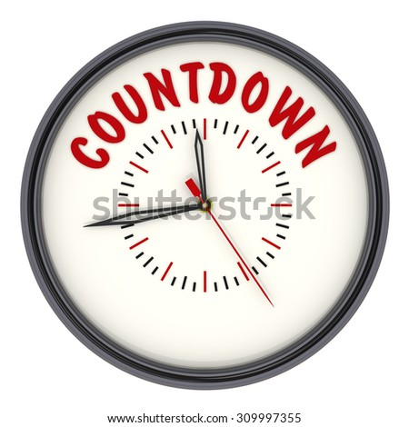 "Analog Clock with the words ""COUNTDOWN"". Isolated"