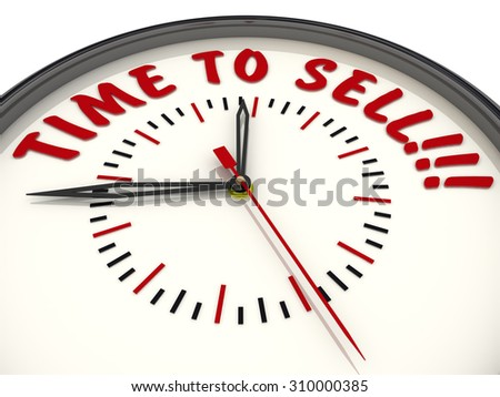 "Analog Clock with the words ""TIME TO SELL!!!"". Isolated"