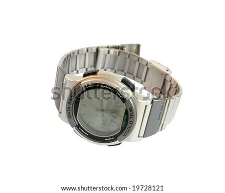 Analog/Digital wristwatch with databank - stock photo