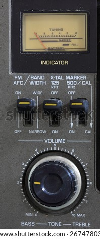Analog FM Radio Volume with dial - stock photo
