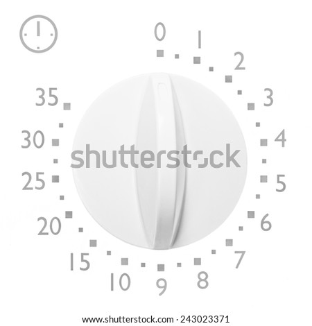 Analog 35 minute microwave oven timer, isolated analogue vintage white dial face macro closeup grey numbers and icon, large background copy space - stock photo
