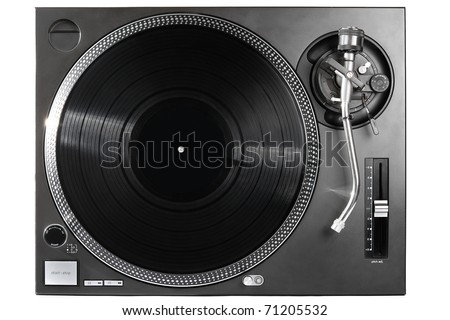 Analog music player isolated on white - stock photo