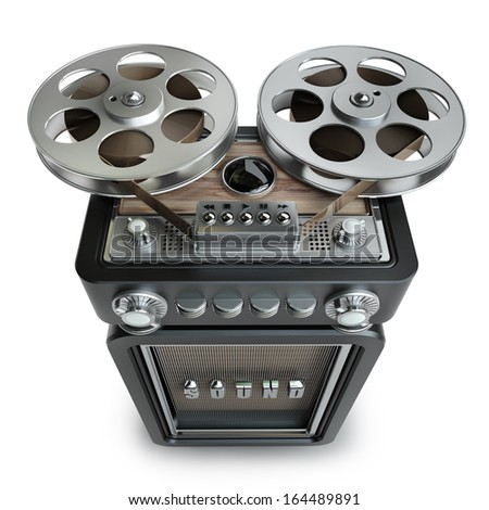 Analog recorder reel to reel. vintage black case isolated on white background High resolution 3d  - stock photo