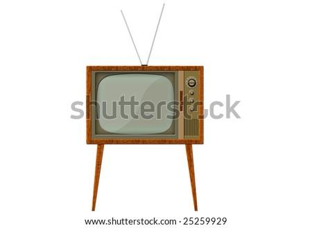 analog retro TV with wood frame - stock photo