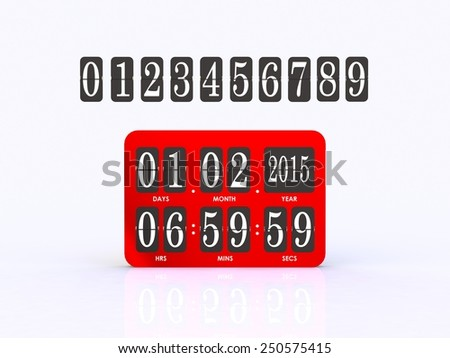 Analog scoreboard digital timer - stock photo