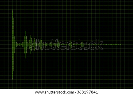 Analog sound waves oscillating on a black background. High quality render.