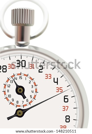 Analog stopwatch cut out at white background - stock photo