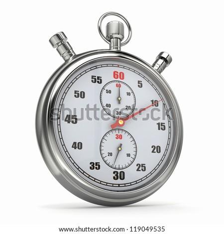 Analog stopwatch on white isolated background. 3d - stock photo
