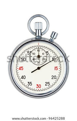 analog stopwatch with white face on white background - stock photo
