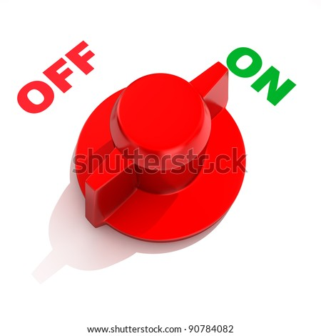 "Analog toggle switch in position ""ON"" - stock photo"