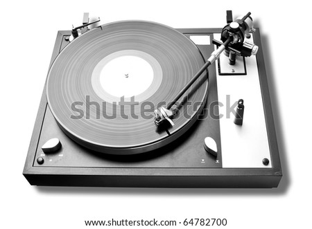 Analog turntable playing record. Isolated and work path included - stock photo