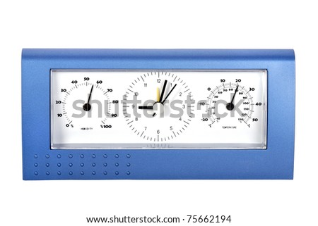 Analog weather station, isolated on white - stock photo