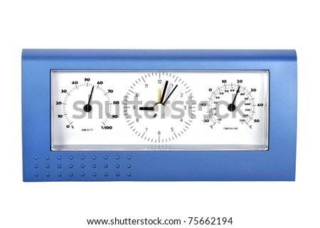 Analog weather station, isolated on white - stock photo