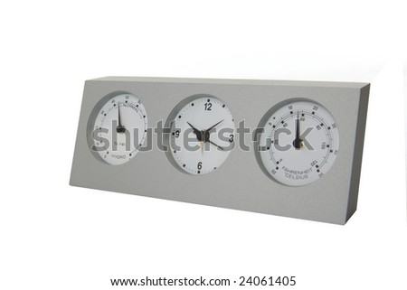 Analog weather station isolated on white background - stock photo