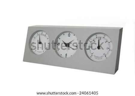 Analog weather station isolated on white background - stock photo
