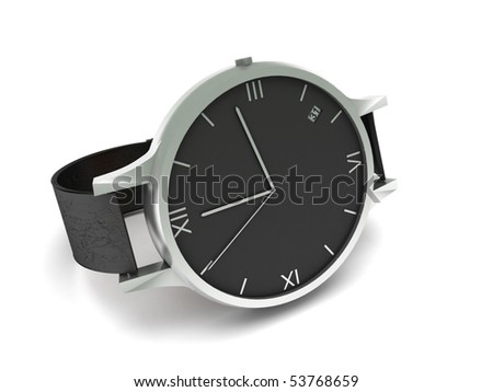 Analog wristwatch isolated on white background.  High quality 3d render. - stock photo