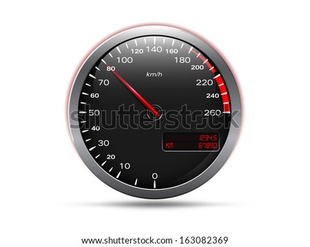Analogue car speedometer, isolated on white, raster copy - stock photo