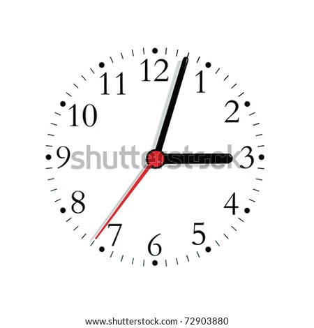 Analogue clock face dial in black and seconds hand in red at 3:03, isolated - stock photo