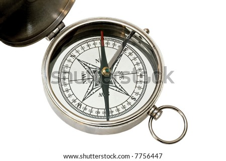 Analogue silver metal compass isolated on white - stock photo