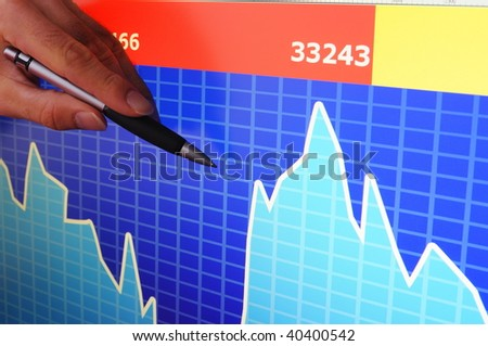analysing business data from stock market for financial success - stock photo