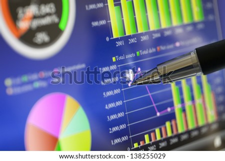Analysing business market from computer screen. - stock photo