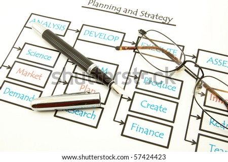 analysing business plan with pan an paper in the office - stock photo