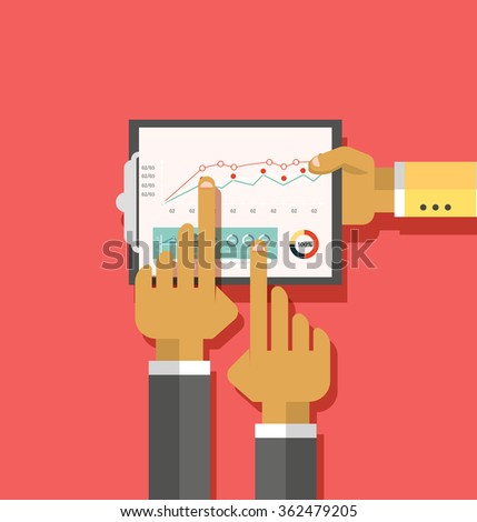 Analysis actions infographic. Analytics and analysis icon, analyze business analysis, research data analysis, strategy business, plan web, idea marketing seo. Hands with graph, charts. Raster version - stock photo