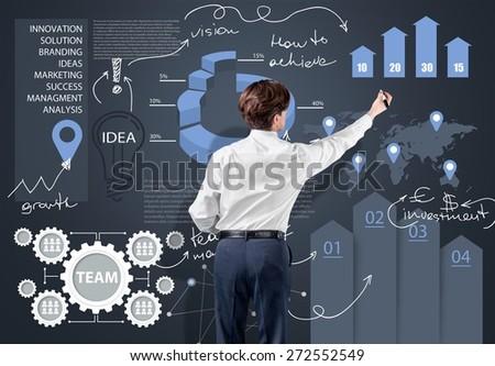 Analysis, background, brainstorming. - stock photo