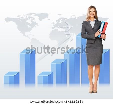 Analysis. Beautiful businesswoman with big 3d chart holding folders - stock photo