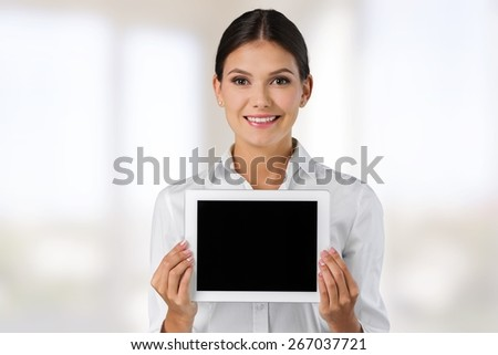 Analysis. Business concept - businesswoman showing tablet pc with graph - stock photo