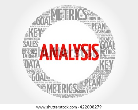Analysis circle word cloud, business concept background - stock photo