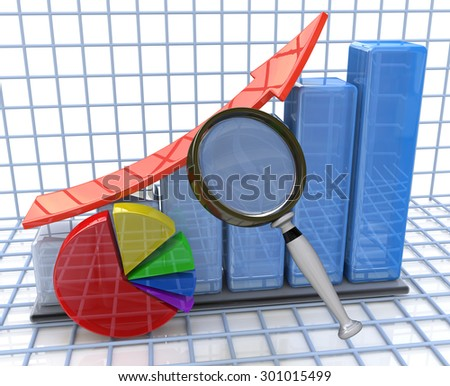 Analysis of growing business graph and pie chart and magnifying glass  - stock photo