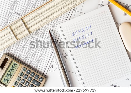 Analysis of the design work, finding errors in the calculations - stock photo