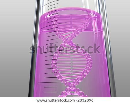 analysis test tube, DNA chain, violet liquid - stock photo