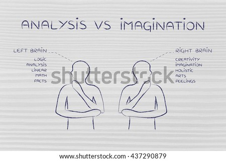 analysis vs imagination: people looking towards opposite directions with captions left and right brain and detailed functional descriptions - stock photo