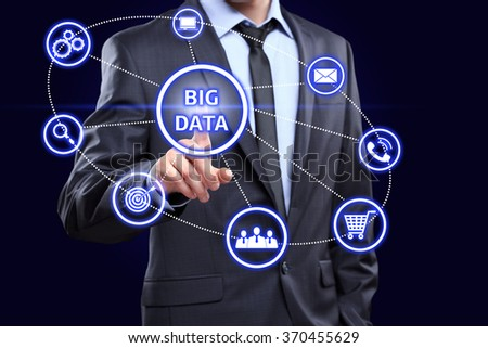Analyst click on button with text data mining. - stock photo