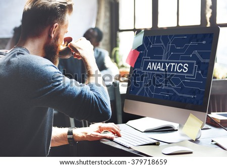 Analytics Analyze Data Analysis Information Research Concept - stock photo
