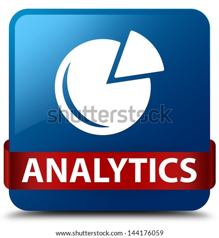 Analytics (Graph icon) glassy red ribbon glossy blue square button - stock photo
