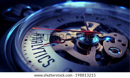 Analytics on Pocket Watch Face with Close View of Watch Mechanism. Time Concept. Vintage Effect. - stock photo