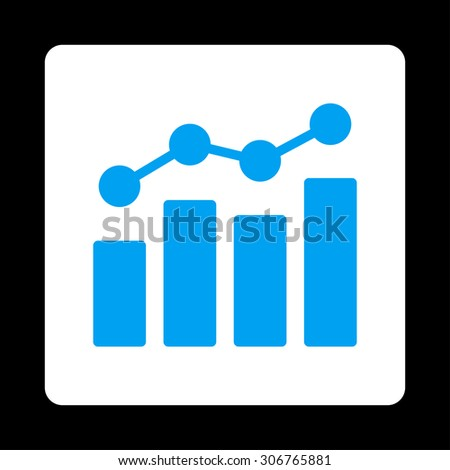 Analytics raster icon. This flat rounded square button uses blue and white colors and isolated on a black background. - stock photo