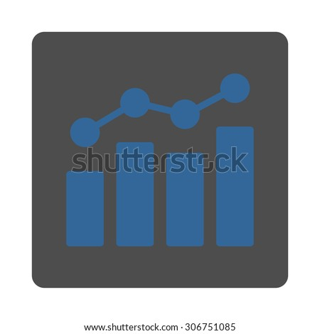 Analytics raster icon. This flat rounded square button uses cobalt and gray colors and isolated on a white background. - stock photo