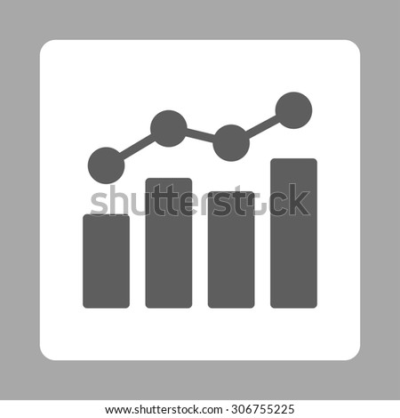Analytics raster icon. This flat rounded square button uses dark gray and white colors and isolated on a silver background. - stock photo