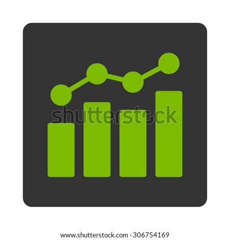 Analytics raster icon. This flat rounded square button uses eco green and gray colors and isolated on a white background. - stock photo