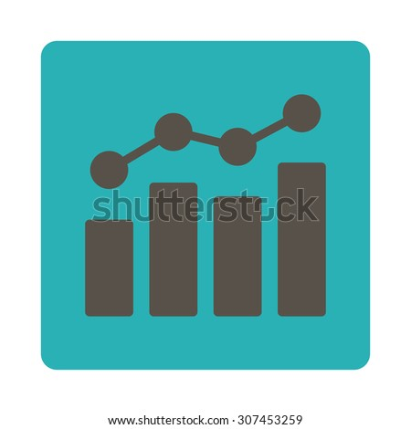 Analytics raster icon. This flat rounded square button uses grey and cyan colors and isolated on a white background. - stock photo